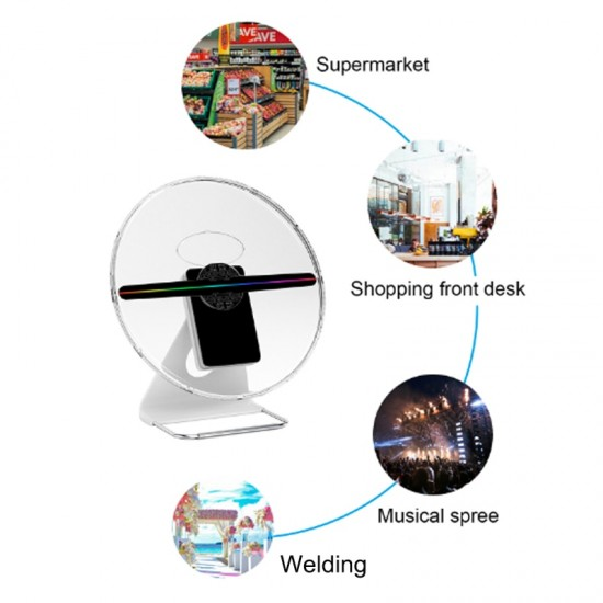 30cm 3D Hologram Advertising Fan light display LED customized photos videos 3d Display Advertising