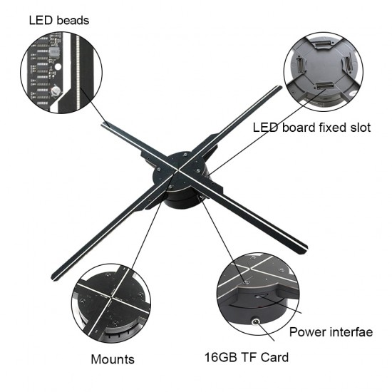 WiFi 3D Hologram Fan Projector Holographic 3D Image and Video 576 LED Beads And 512PX